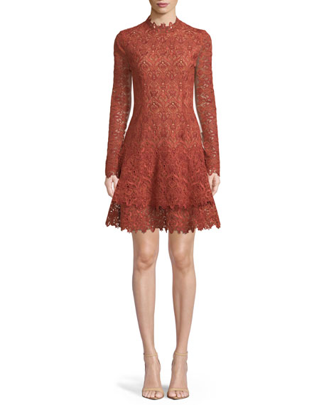 Long-Sleeve Guipure Lace Cocktail Dress in Cigar
