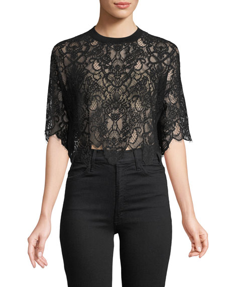 Lace Combo Crop T-Shirt Top