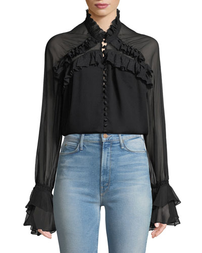 High-Neck Lace Ruffle Button-Front Top