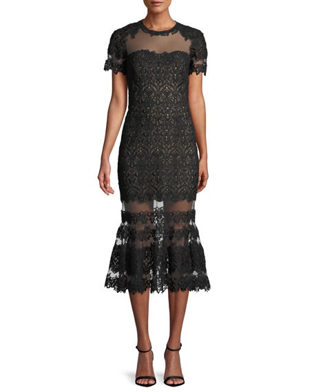 Fluted Tulle And Guipure Lace Midi Dress, Black
