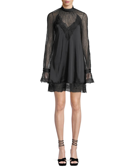 Lace Sateen High-Neck Open-Back Mini Dress in Black