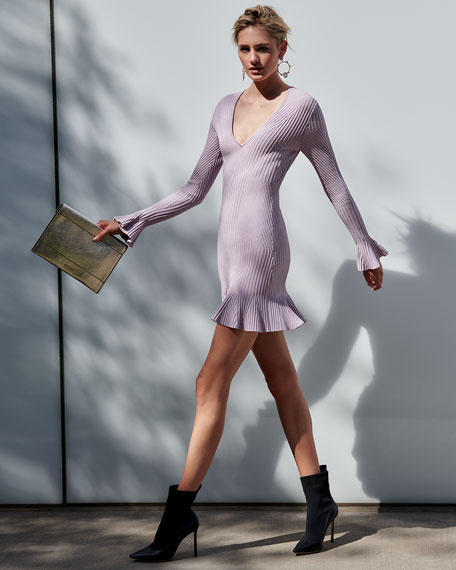 Ribbed V-Neck Long-Sleeve Mini Dress