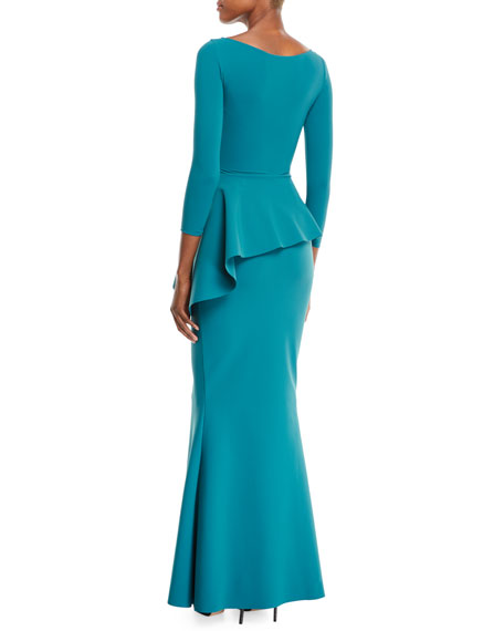 Gitana V-Neck Gown w/ Peplum Waist