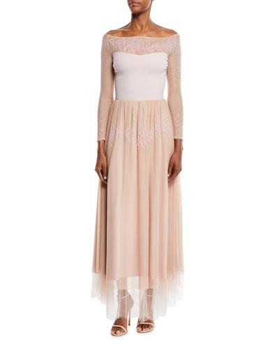 Maryann Long-Sleeve Illusion Gown