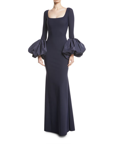 Ary Gown w/ Taffeta Balloon Sleeves