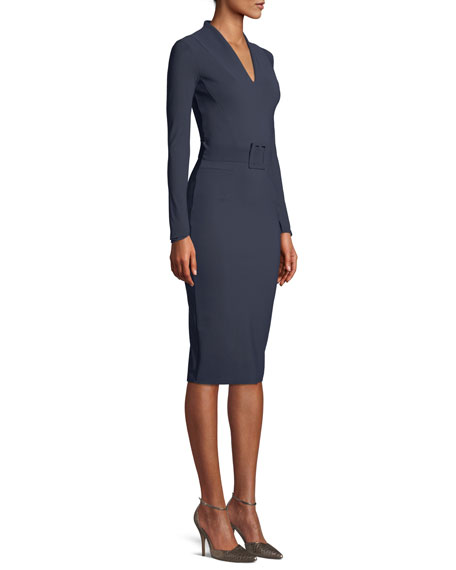 Evalda Long-Sleeve Dress w/ Belt
