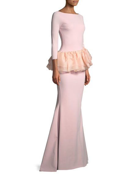 Glany Mermaid Gown w/ Organza Peplum