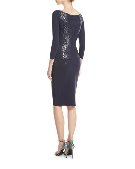 Liepa Body-Con Dress w/ Metallic Embellishments