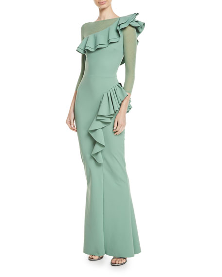 Maria Chiara Illusion Gown w/ Asymmetric Ruffles