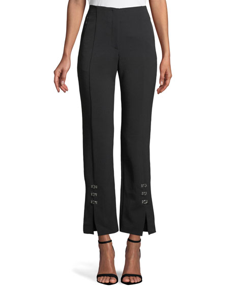 E-Cig Compact Stretch Grommet Straight-Leg Pants, Black