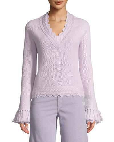 Scalloped V-Neck Wool Tassel-Cuff Sweater