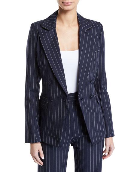 Tailored Pinstripe Hook-Front Blazer