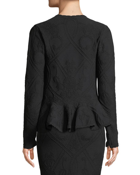 Matte Jacquard Zip-Front Peplum Jacket