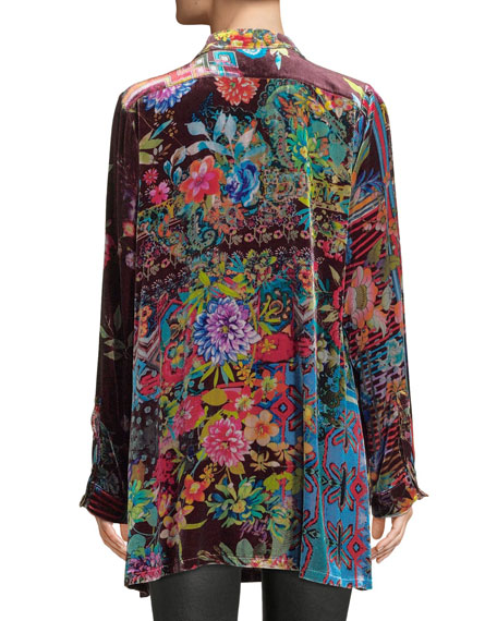 Dream Floral-Print Velvet Easy Tunic, Plus Size