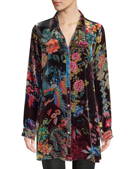 Dream Floral-Print Velvet Easy Tunic, Petite
