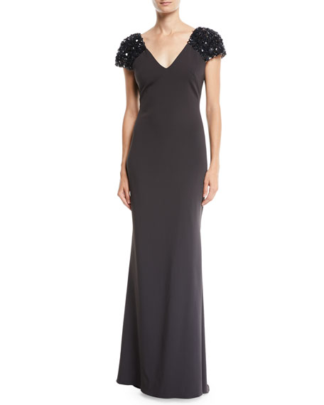 Badgley Mischka Collection V-Neck Gown w/ Beaded Sleeves