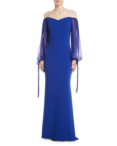 Badgley Mischka Collection Off-the-Shoulder Gown w/ Balloon
