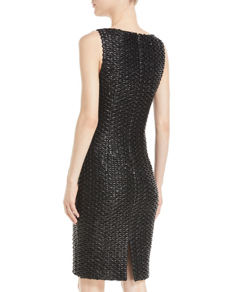 Sleeveless Leatherette Weave Sheath Dress