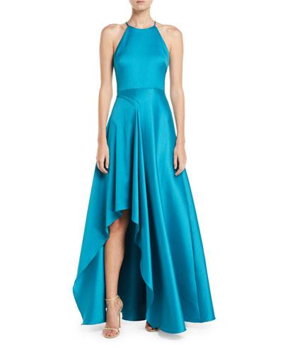 Mikado Halter Gown w/ Pickup Skirt