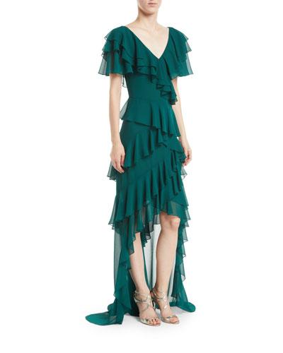 V-Neck Draped Ruffle Gown