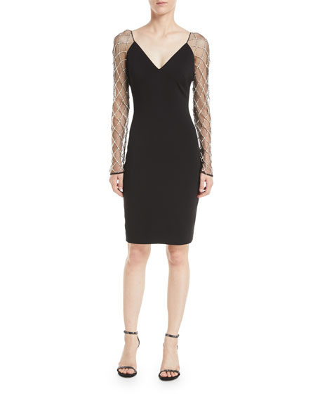 Badgley Mischka Collection V-Neck Cocktail Dress w/ Beaded