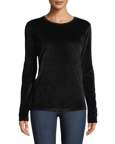 Long-Sleeve Velour Crewneck Top