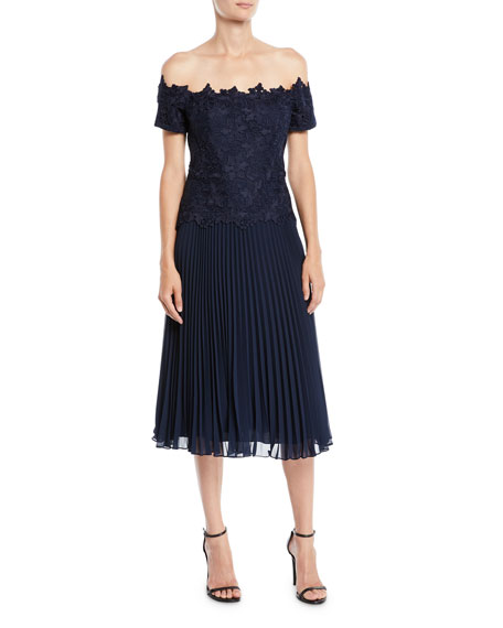 Off-the-Shoulder Lace Dress w/ Accordion Skirt