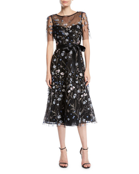 A-Line Dress w/ Floral Embroidery