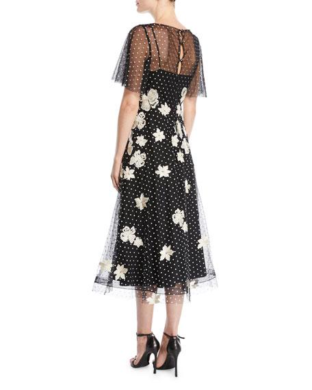 Point D'Esprit Dress w/ Lace Applique