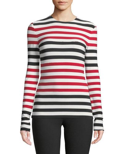 Spliced Striped Long-Sleeve Top