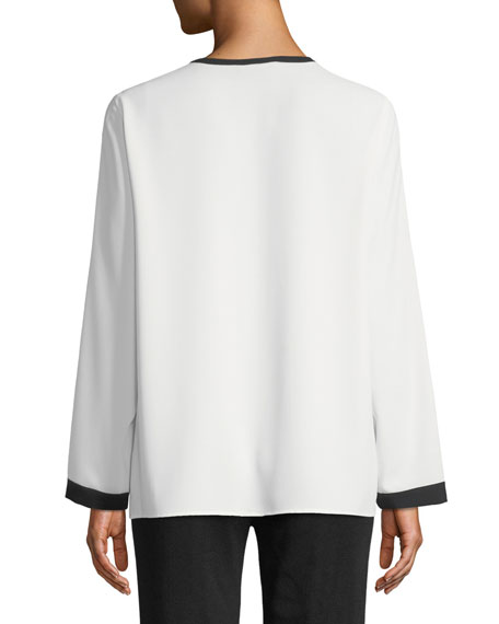 Silky Keyhole-Front Blouse w/ Contrast Trim, White/Black