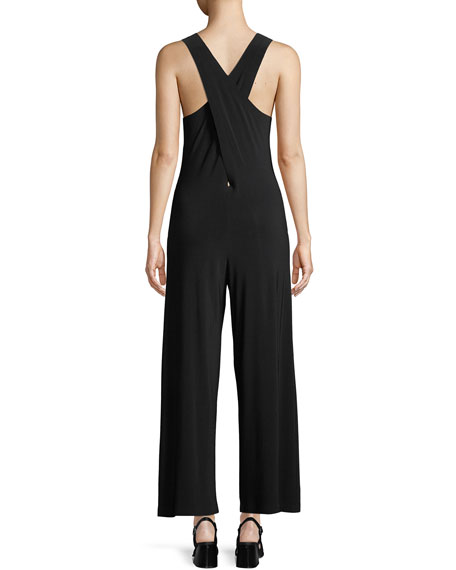 Cropped Cross-Back Sleeveless Jumpsuit