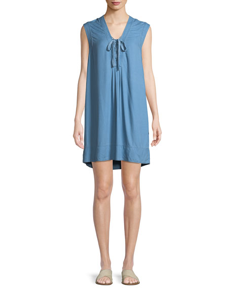Lace-Up Sleeveless Chambray Shift Dress