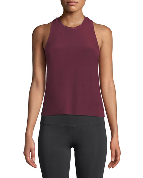 ONZIE Eagle Twist-Back Activewear Tank in Dark Red