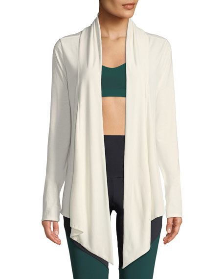 ONZIE Draped Open-Front Long-Sleeve Cardigan in Ivory