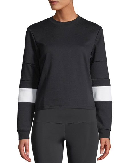 ONZIE Blocked Crew Pullover Sweatshirt in Black/White