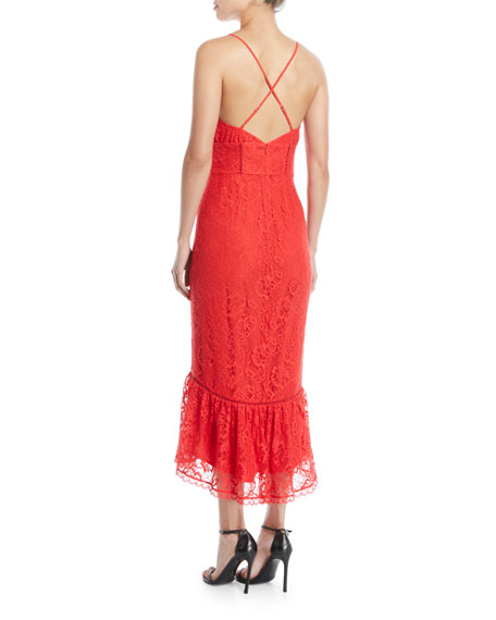 Evening Bloom Lace Flounce Midi Dress