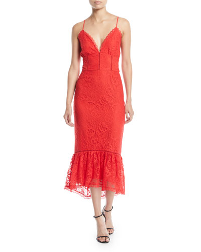 Evening Bloom Lace Flounce Midi Dress