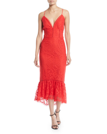 Lovers And Friends Evening Bloom Lace Flounce Midi
