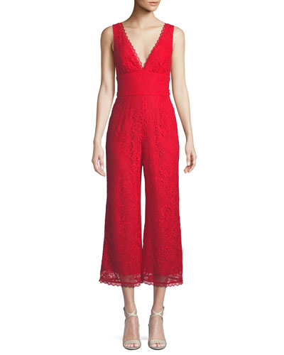 Kenneth Cropped Lace Wide-Leg Jumpsuit