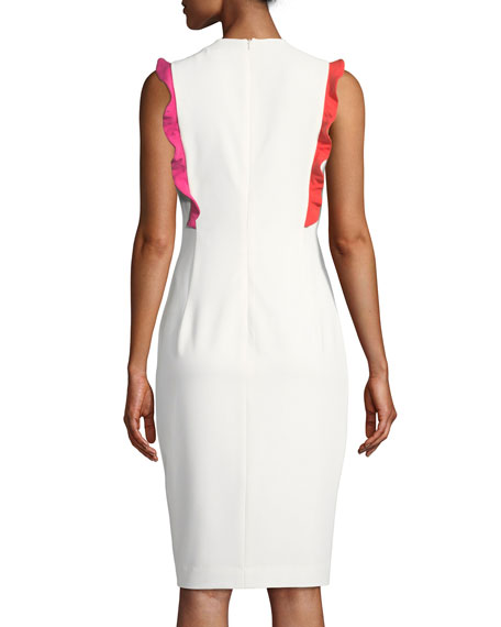 Whitely Sheath Dress w/ Contrast Ruffle Trim