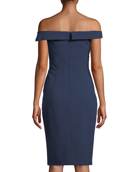 Hepburn Off-the-Shoulder Sheath Dress w/ Slit