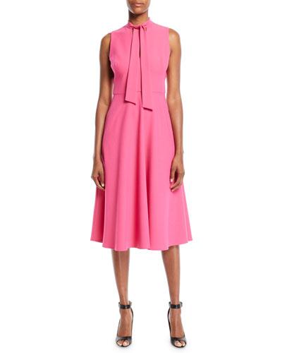 Carolina Sleeveless Dress w/ Necktie Detail