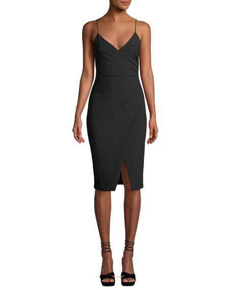 Bowery Sleeveless Sheath Dress W/ Side Ruching, Black