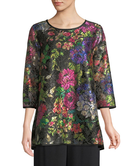 Caroline Rose Midnight Garden 3/4-Sleeve Shimmer Floral-Print