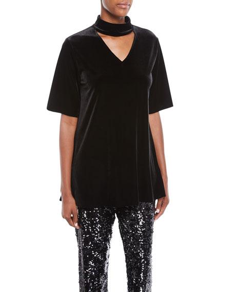 Joan Vass Velvet Choker Tunic, Plus Size