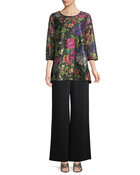 Midnight Garden 3/4-Sleeve Shimmer Floral-Print Lace Tunic w/ Tank Liner, Plus Size