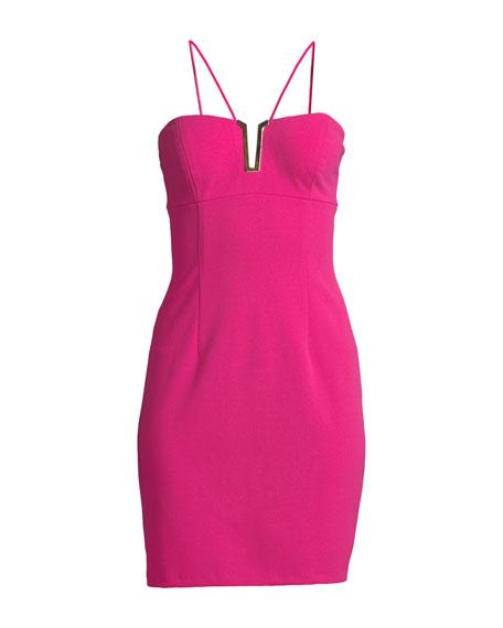 Halter Mini Dress w/ Metallic Detail