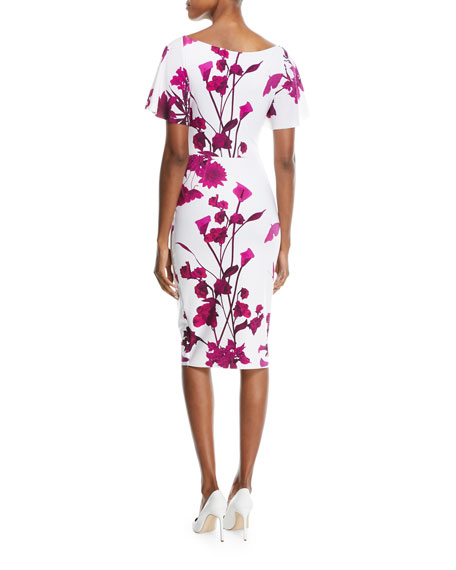 Arifa Floral-Print Ruffle-Sleeve Cocktail Sheath Dress