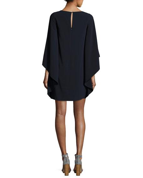 Flowy Boat-Neck Asymmetric Drape Cocktail Dress